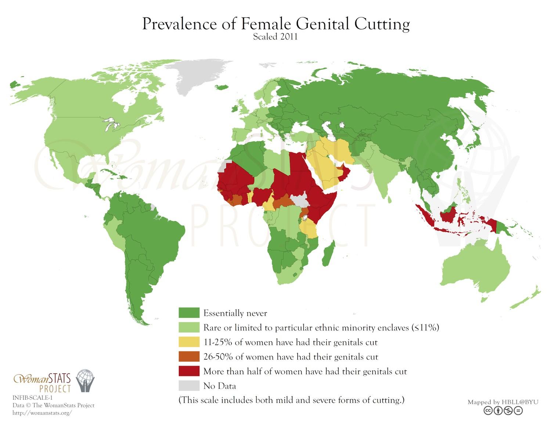Prevalence of Female Genital Cutting Scaled 2011. Karte von FGM