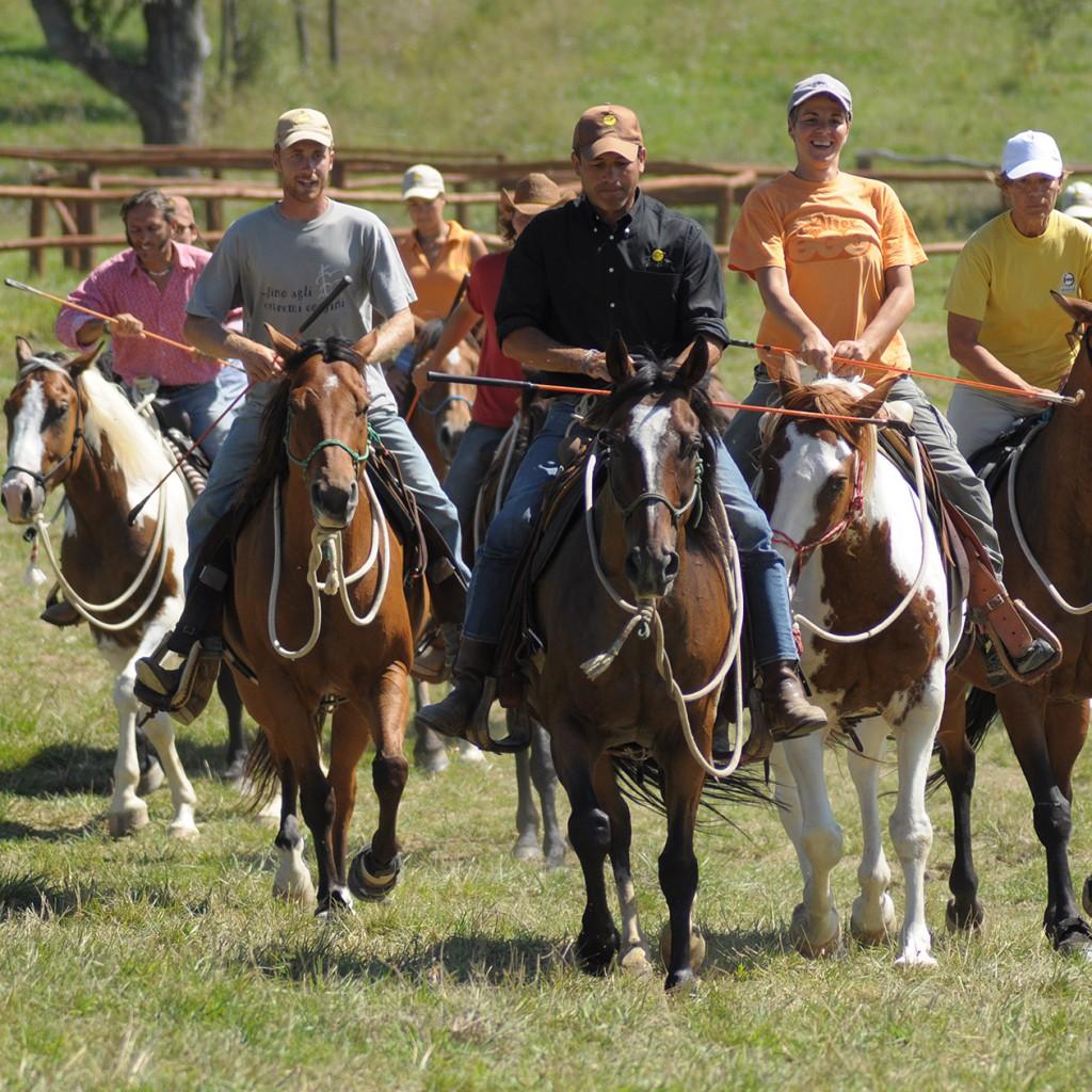 NHS-Spiel, bei dem die Pferde in der Gruppe überwiegend im Trab geritten werden, die Zügel dürfen nur im Notfall benutzt werden.2010 © AsvaNara, BU: Bernd Paschel